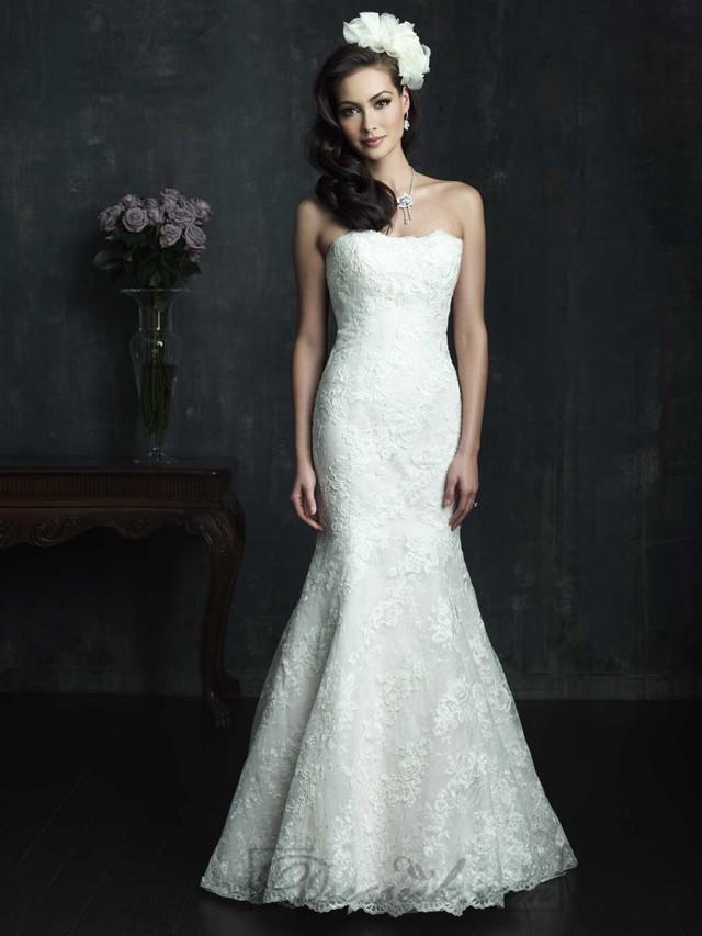 Strapless slim line lace appliques mermaid wedding dresses for Bra for strapless wedding dress