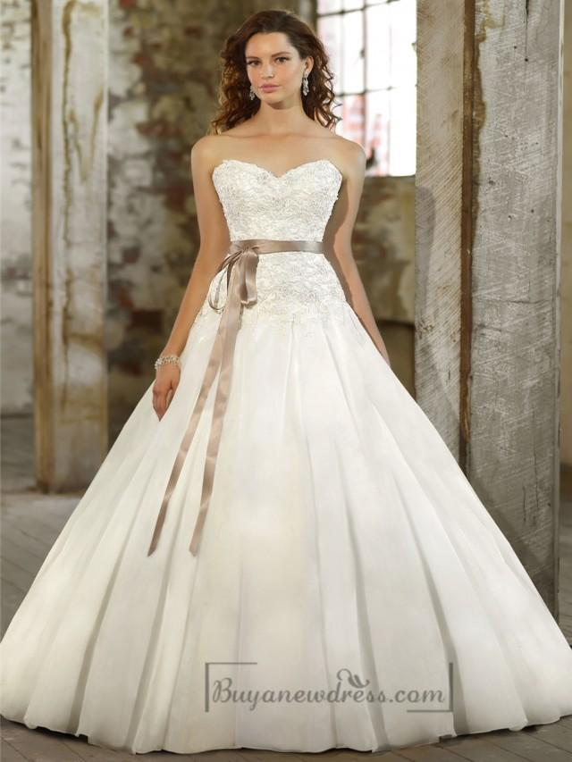 wedding photo - Sweetheart A-line Beaded Bodice Wedding Dresses with Pleated Skirt