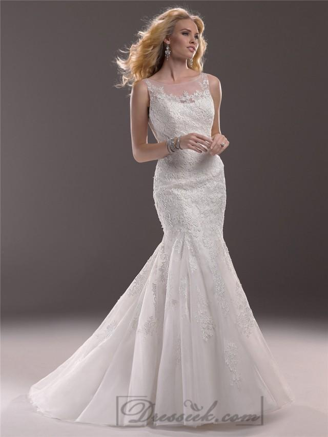 Fit And Flare Illusion Bateau Neckline Lace Wedding