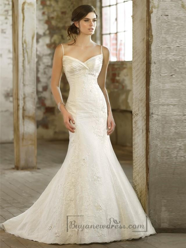 wedding photo - Spaghetti Strpas Ruched V-neckline Trumpet Taffeta Wedding Dresses