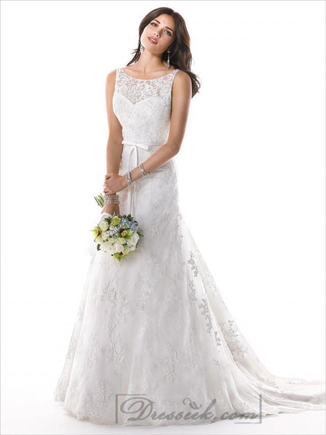 Romantic illusion bateau neckline a line lace v back for A line illusion neckline wedding dress