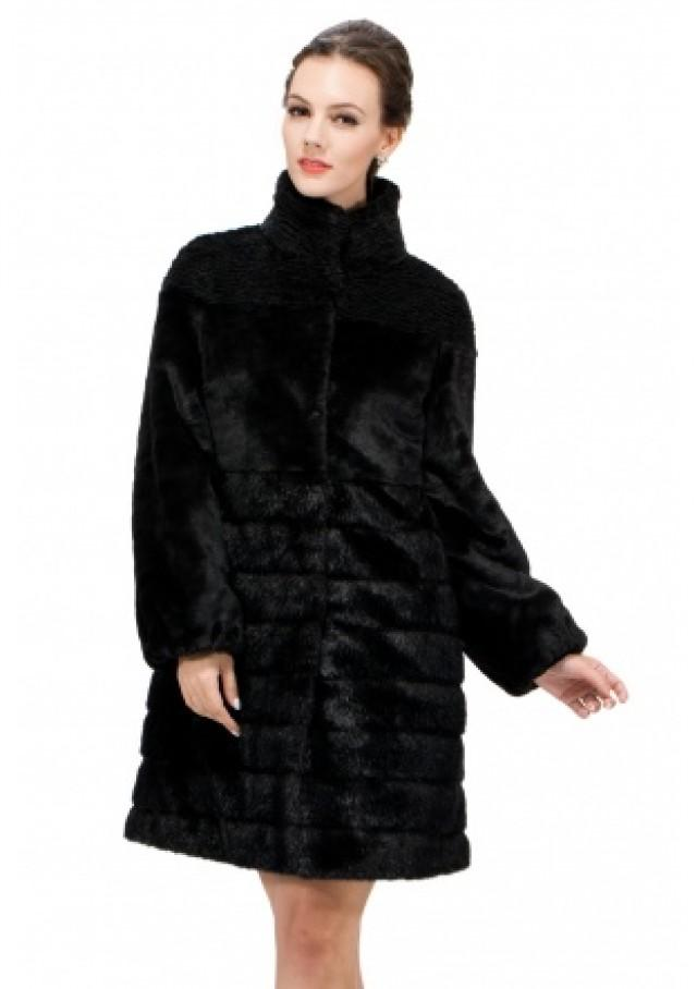 wedding photo - Faux mink fur and cashmere with astrakhan middle women coat