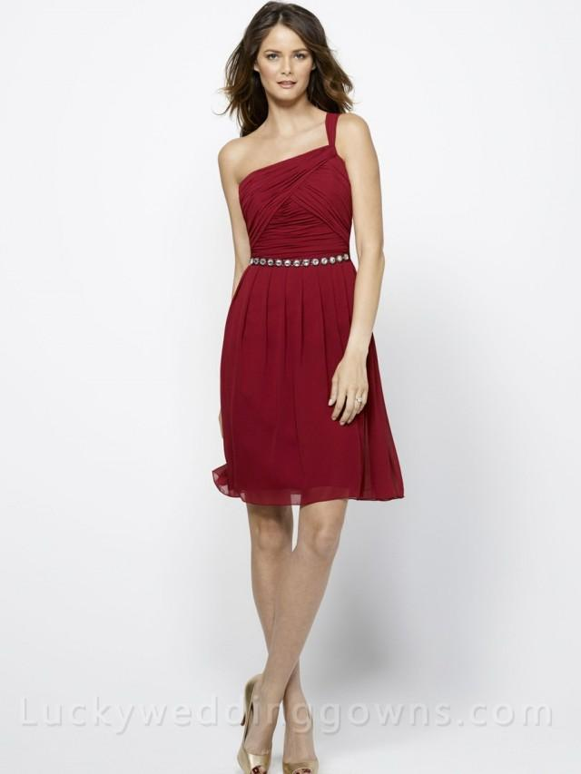 Flowy Chiffon One Shoulder Knee Length Burgundy Bridesmaid