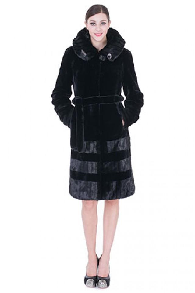 wedding photo - Faux black mink cashmere with light black stirps mink fur long women coat