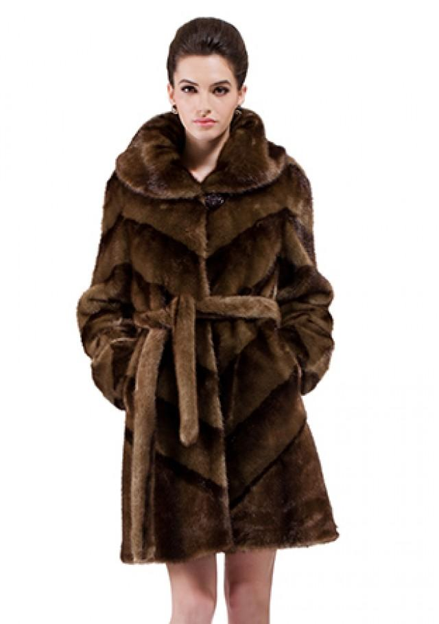 wedding photo - Faux dark brown mink fur with black strips women middle coat