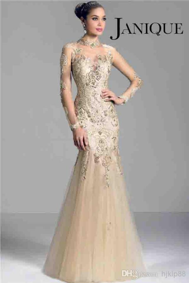 Janique W321 Champagne 2014 Long Sleeve Mother Of The Bride Dresses ...