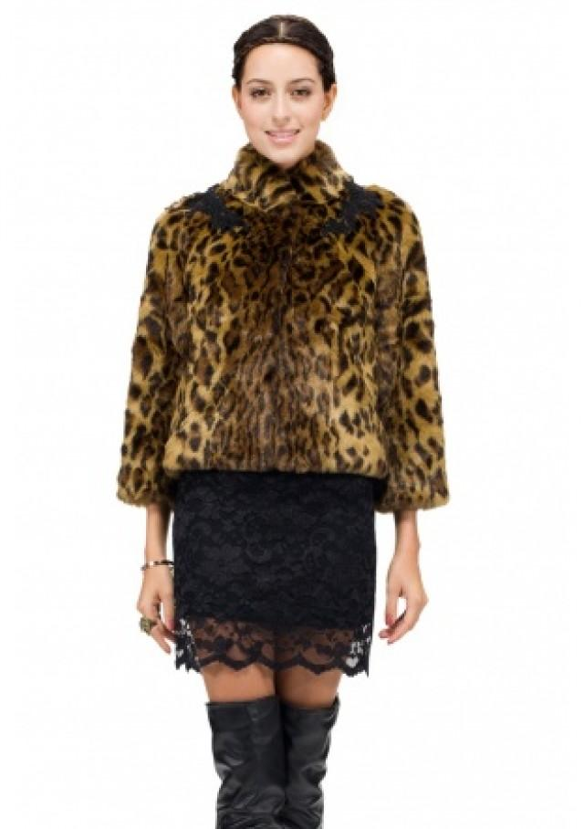 wedding photo - Faux leopard printing mink fur with black lace trim women short coat