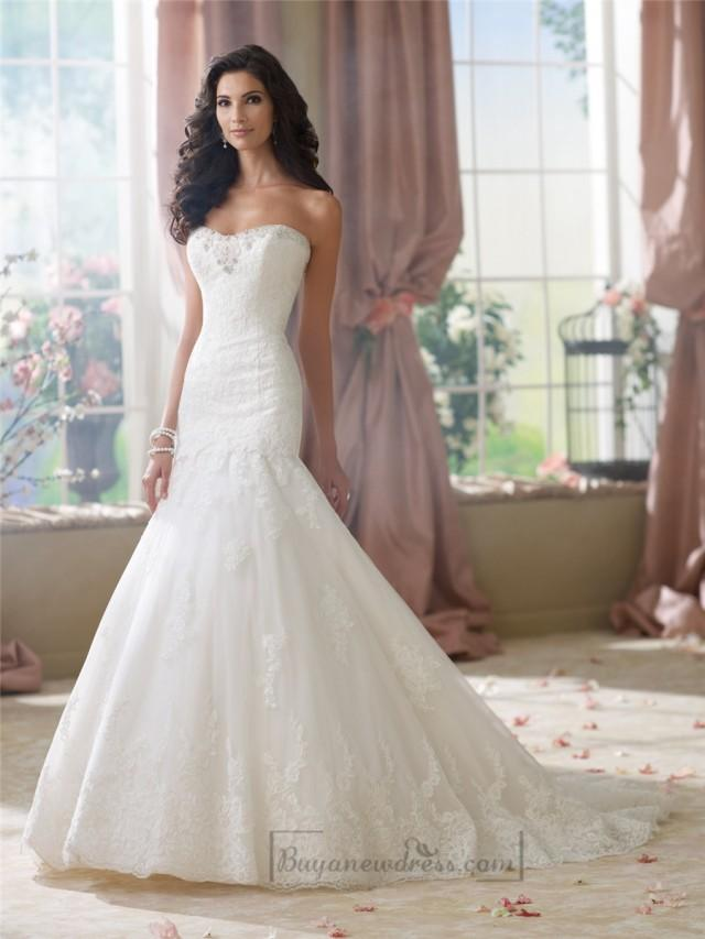 wedding photo - Strapless A-line Softly Curved Neckline Lace Mermaid Wedding Dresses