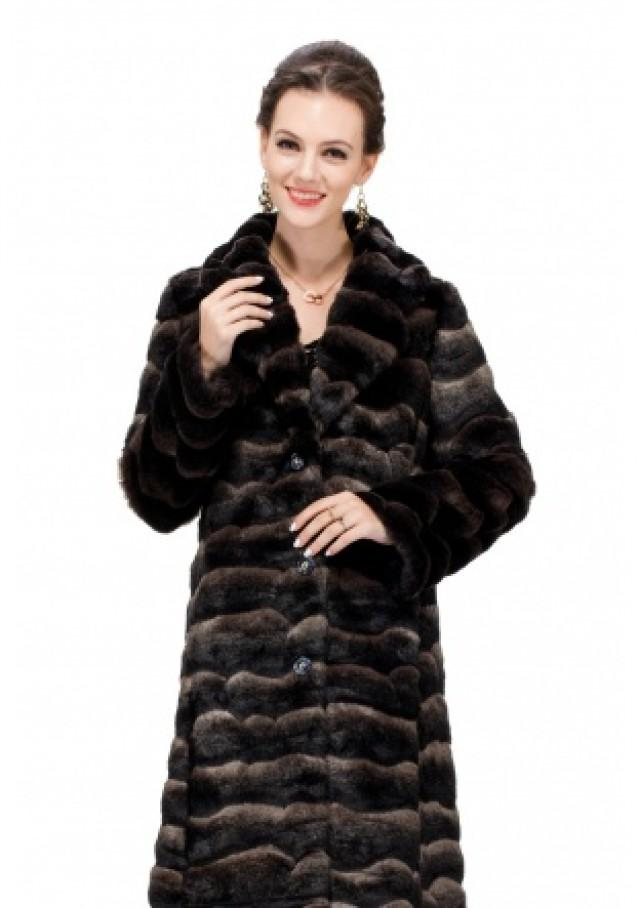 wedding photo - Faux chinchilla fur with sapphire button women full length coat
