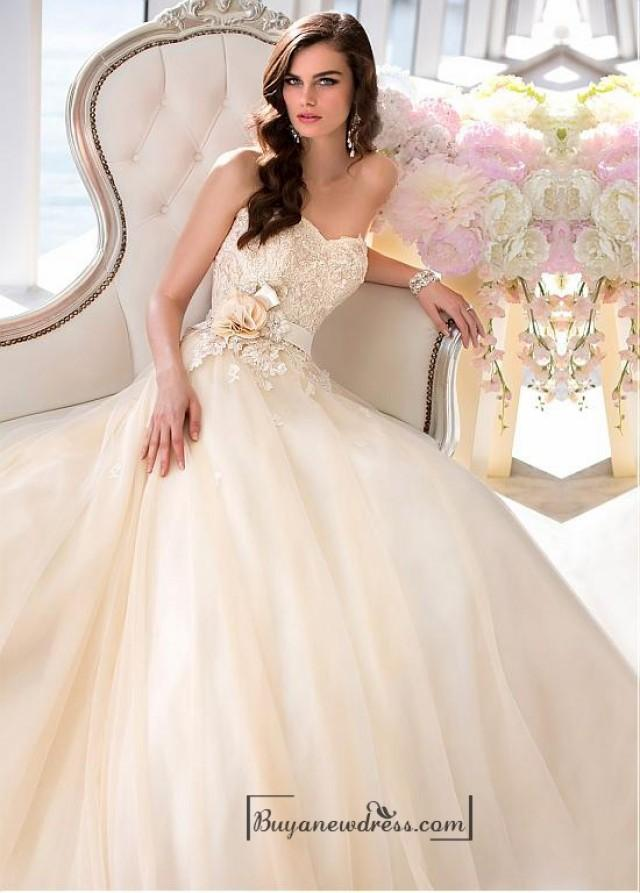 wedding photo - Alluring Tulle & Satin Sweetheart Neckline Natural Waistline A-line Weding Dress