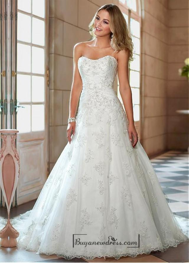 Alluring tulle sweetheart neckline natural waistline a for A line wedding dresses sweetheart neckline