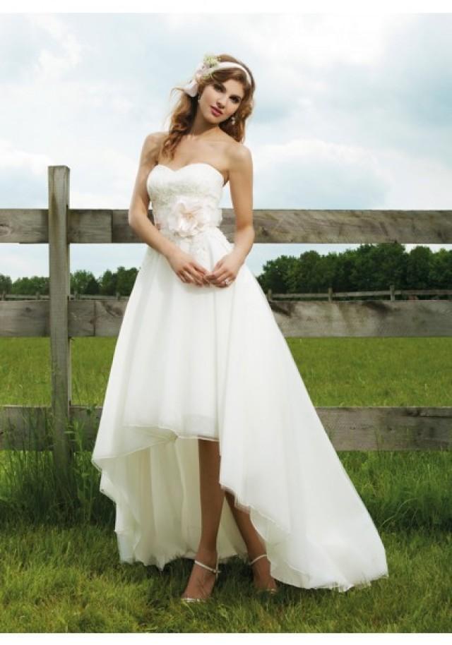 wedding photo - Sweetheart High Low Organza Ivory A Line Wedding Dress