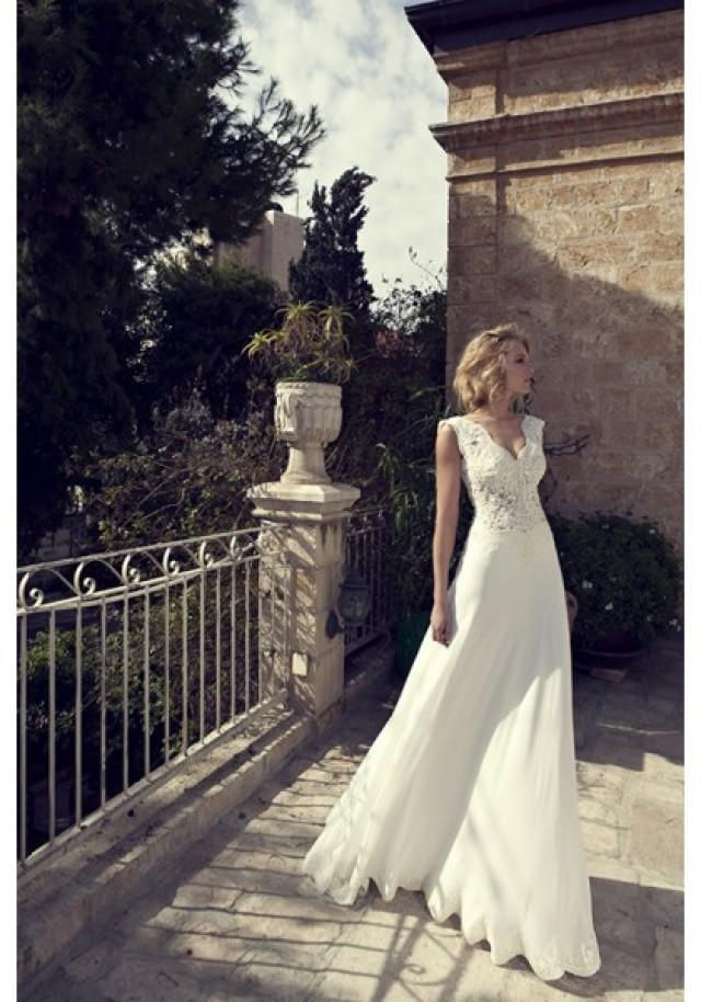 wedding photo - Sleeveless V Neck Sweep Train Chiffon A Line Wedding Dress With Appliques