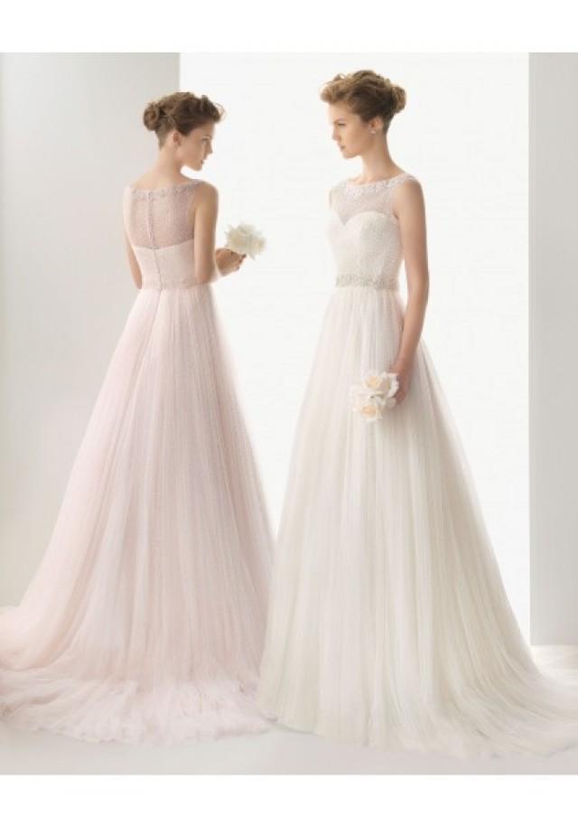 wedding photo - Tulle Jewel Chapel Train A Line Wedding Dress