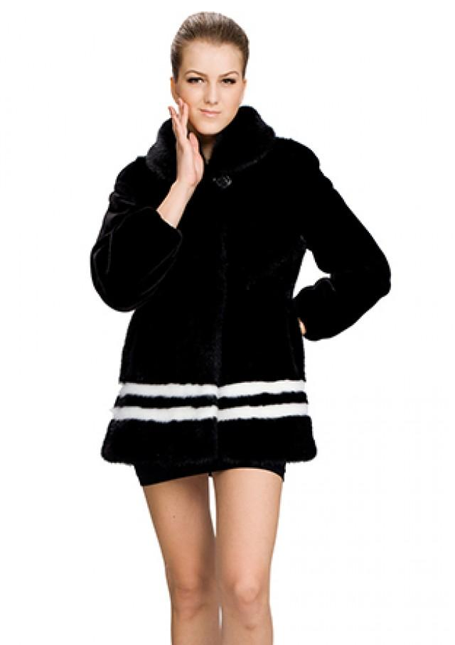 wedding photo - Faux black with white mink fur middle women coat
