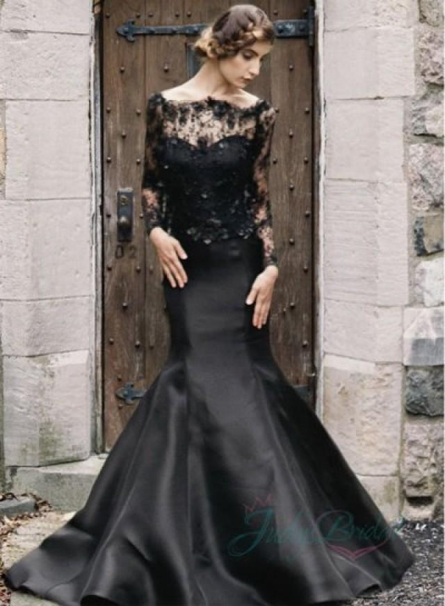 2015 Black Color Illusion Lace Long Sleeved Mermaid