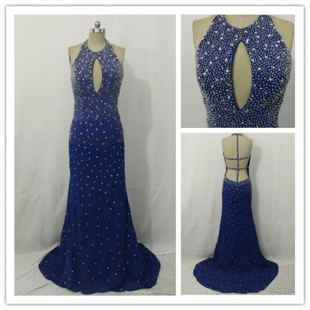 wedding photo - Good Quality Blue Sparkly Long Evening Dress & Party Dress & Homecoming Dress