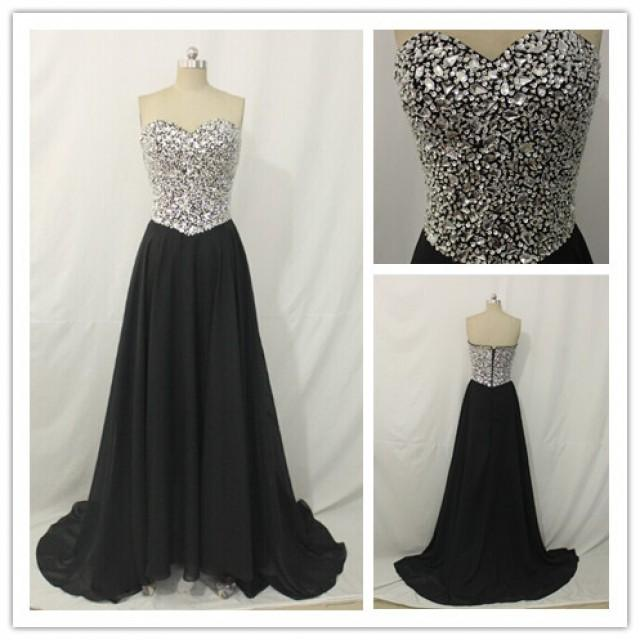 wedding photo - Sequin Top Black Floor Length Evening Dress & Homecoming Dress On Sale