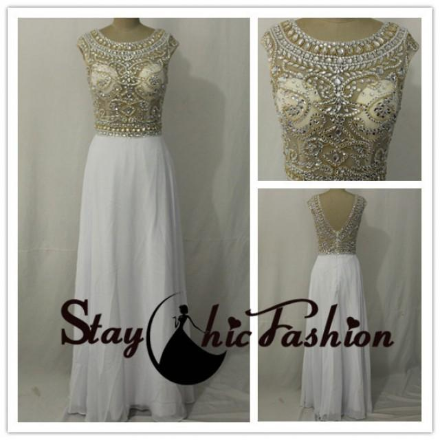 wedding photo - Gold Rhinestone Beaded Illusion Top Low Back White Long Chiffon Evening Prom Dress