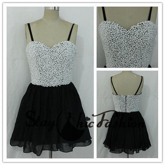 wedding photo - In Stock, White Black Pearls Beaded Top Short Chiffon Prom Dress,Girls Cute Prom Dress 2015