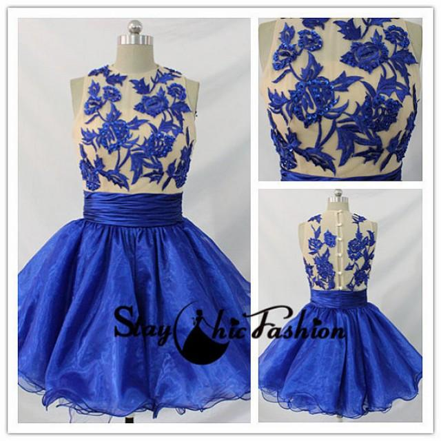 wedding photo - Blue Nude Floral Embellished Top High Neck Ruched Homecoming Dress 2015