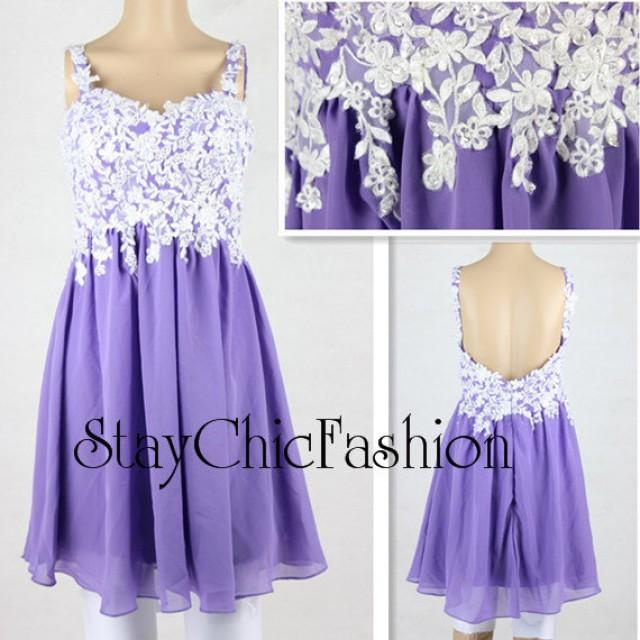 wedding photo - Purple Short Floral Lace Embellished Top Cocktail Party Dress