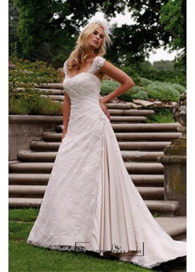 wedding photo - Beautiful Elegant Satin & Lace A-line Sweetheart Wedding Dress In Great Handwork
