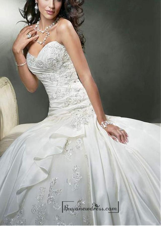 wedding photo - Beautiful Exquisite Elegant Thick Taffeta A-line Wedding Dress In Great Handwork