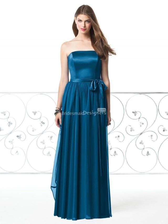Blue bridesmaid dresses strapless