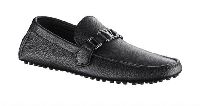 wedding photo - LOUIS VUITTON LV Mens Black Grained Leather Loafer Shoes