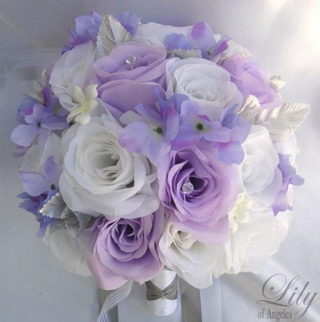 17 pieces package silk flower wedding decoration bridal bouquet white lavender lily of angeles. Black Bedroom Furniture Sets. Home Design Ideas