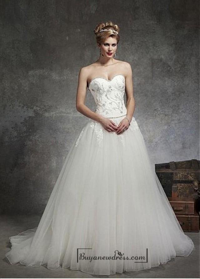 Beautiful satin tulle ball gown sweetheart neck dropped for Sweetheart neckline drop waist wedding dress
