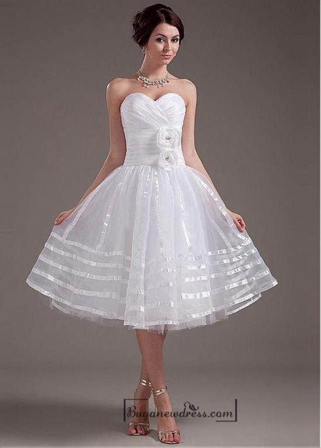 wedding photo - Beautiful Taffeta & Organza & Tulle & Mercerized Belt A-line Sweetheart Tea Length Wedding Dress