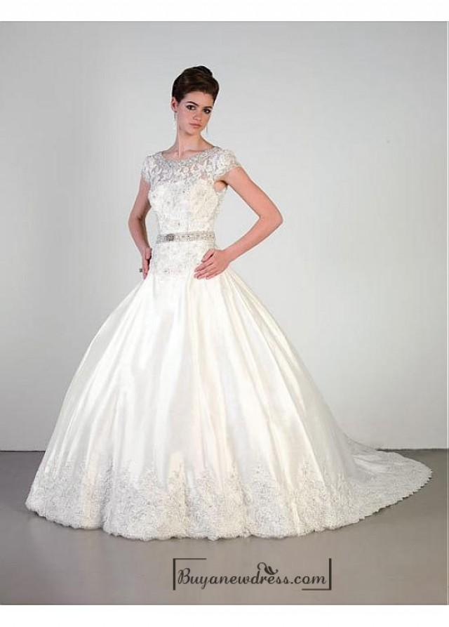 wedding photo - Beautiful Elegant Exquisite Satin Wedding Dress In Great Handwork