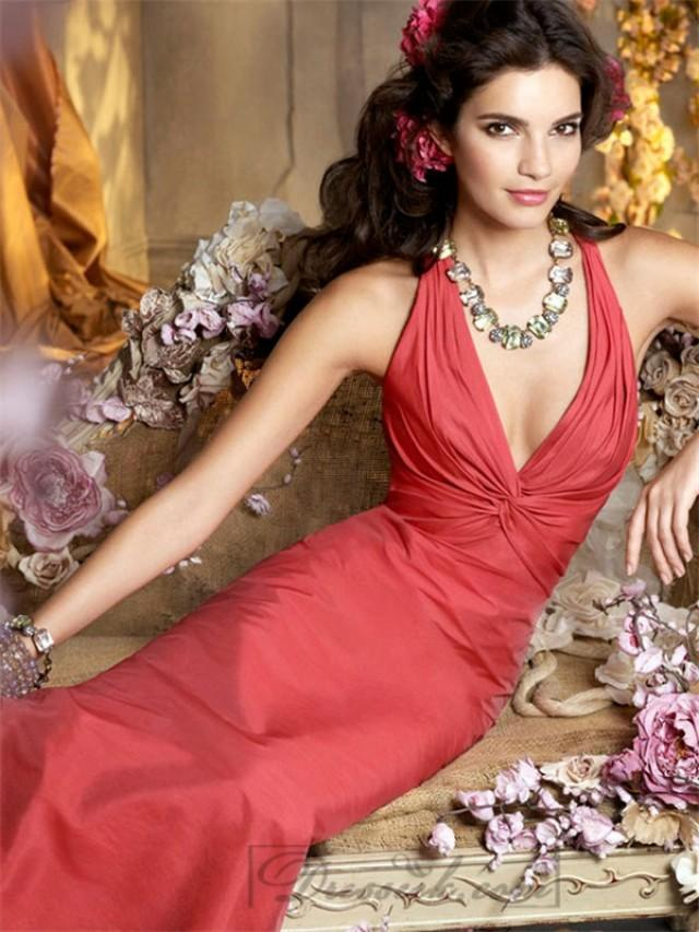 wedding photo - Cherry Halter A-line Deep V-neck Bridesmaid Dresses with Criss-cross Back