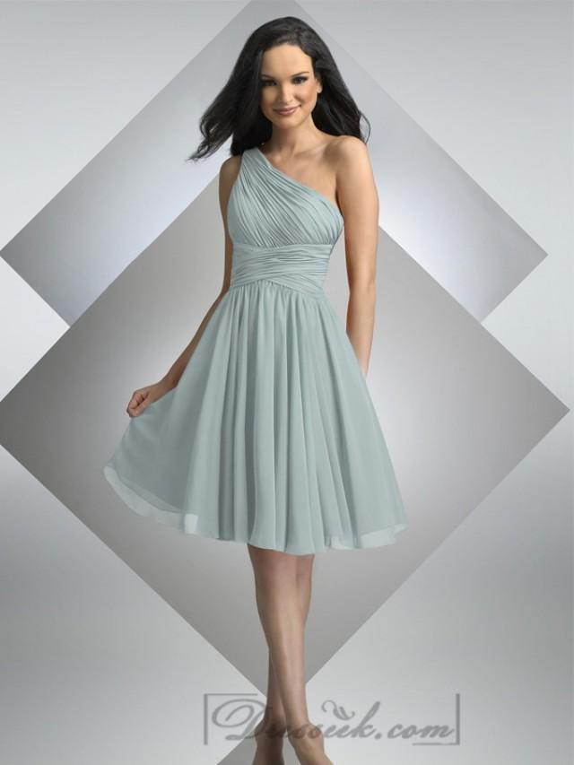 wedding photo - One Shoulder Pleated Cross Waist Knee Length Bridesmaid Dresses