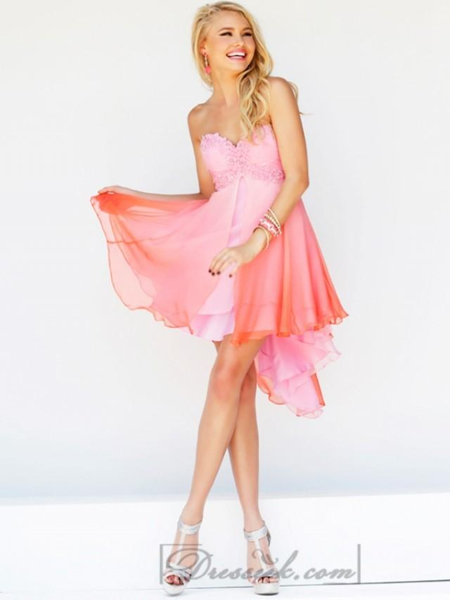 wedding photo - Short Strapless Sweetheart Embellished Bodice Ombre Prom Dresses