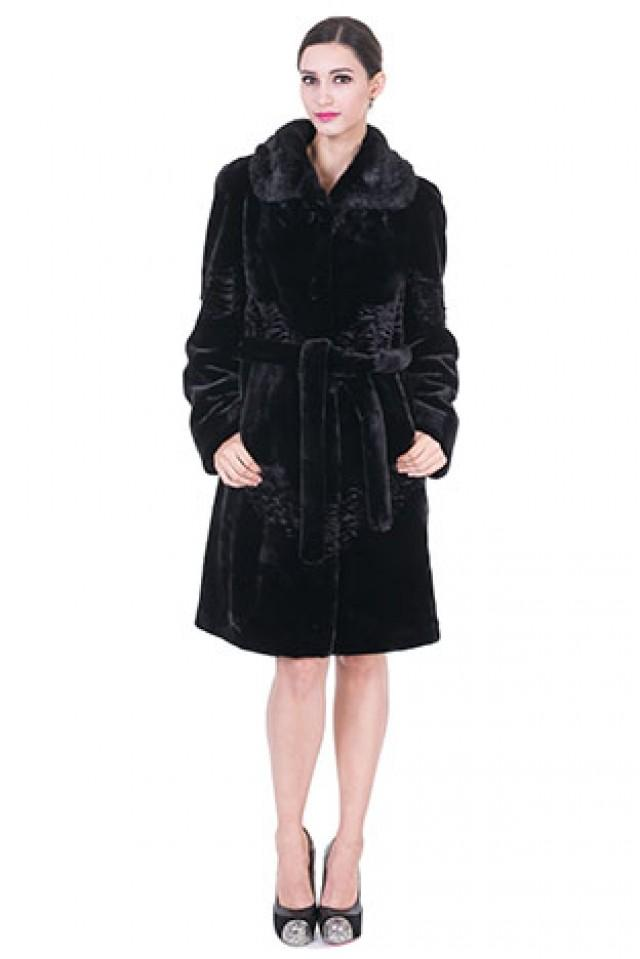 wedding photo - Faux black mink cashmere with mink fur collar middle women coat