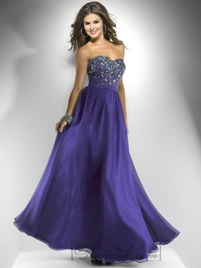 wedding photo - Chiffon Strapless Beaded Sweetheart A-line Long Prom Dresses