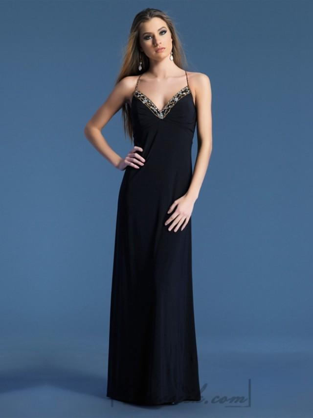 wedding photo - Halter Spaghetti Straps Beaded Plunging Neckline Long Prom Dresses
