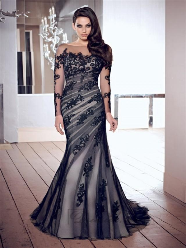 wedding photo - Luxurious Scoop Mermaid Appliques Long Sleeves V-back Prom Dresses