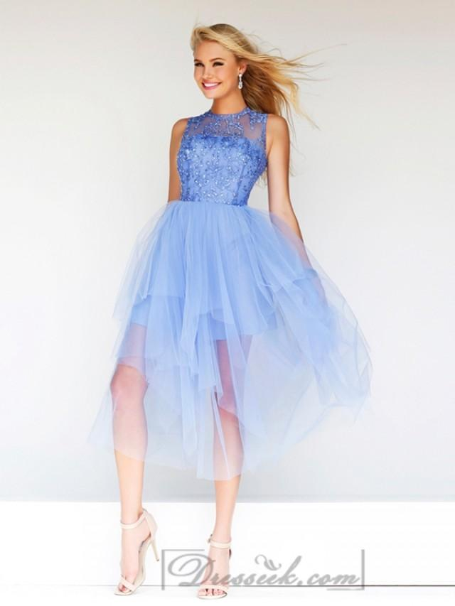 wedding photo - Sheer High Neck Beaded Bodice Knee Length Prom Dresses with Fairy Skirt