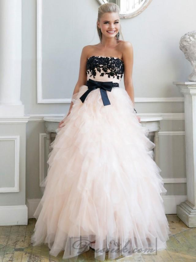 wedding photo - Luxury Strapless Floral Embellished Long Prom Dresses with Ruffled Skirt