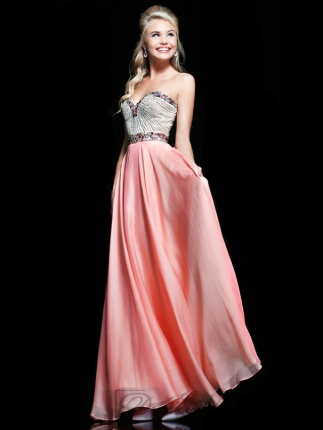 wedding photo - Embellished Strapless Sweetheart Floor Length Prom Dresses