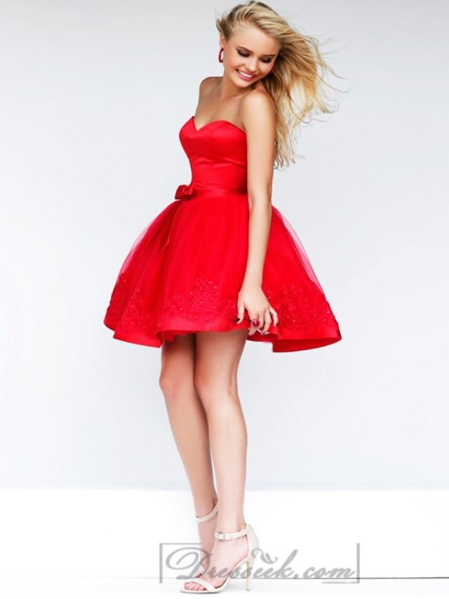 wedding photo - Red Strapless Sweetheart Short Prom Dresses with Slim Bow Band