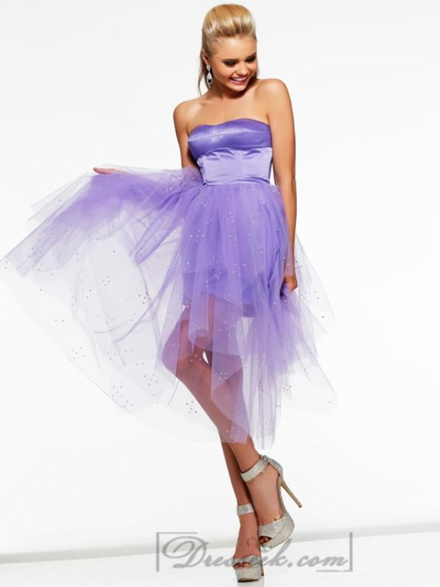 wedding photo - Short Strapless Prom Dresses with Sheer Illusion Over Skirt