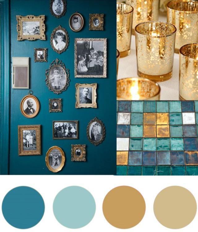 Teal Amp Gold Christmas Palette Polka Dot Bride Weddbook
