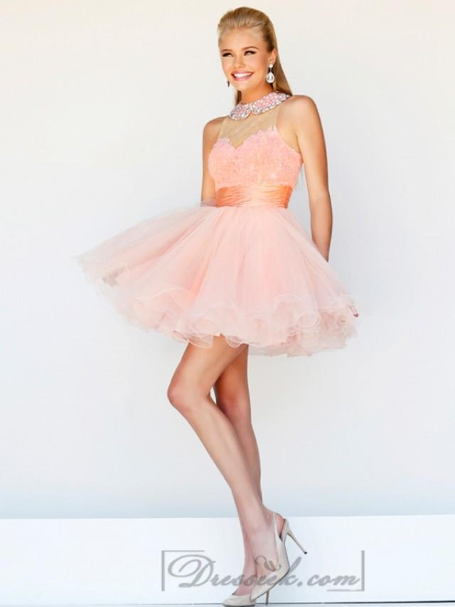 wedding photo - Short High Neck Sheer Lace Prom Dresses with Pleated Skirt