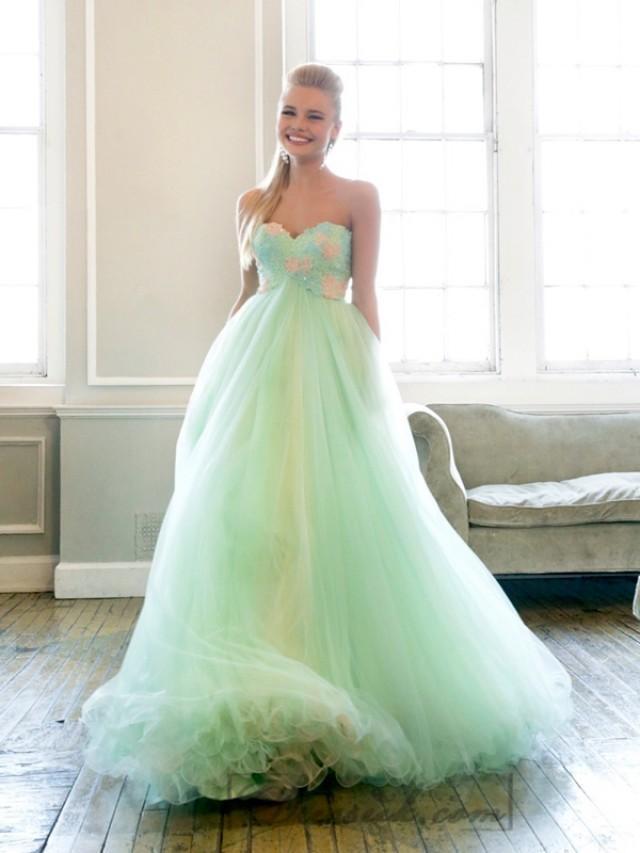 wedding photo - Strapless Sweetheart Embellishment Bodice Long Prom Dresses
