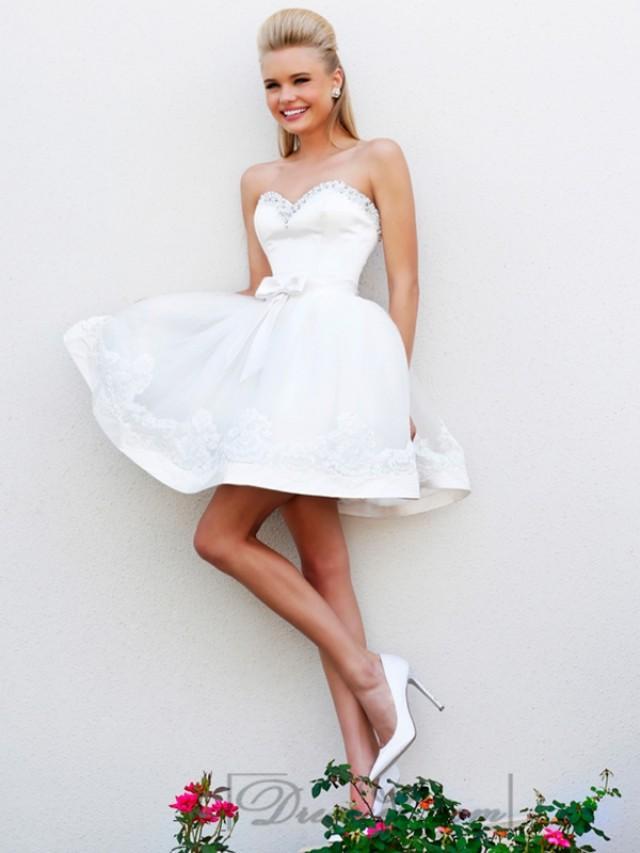 wedding photo - Short Strapless Beaded Sweetheart Babydoll Prom Dresses